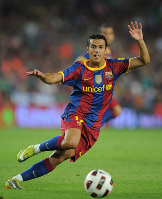 BARCELONA, SPAIN - AUGUST 25:  Pedro Rodriguez of Barcelona in action during the Joan Gamper Trophy match between Barcelona and AC Milan at Camp Nou stadium on August 25, 2010 in Barcelona, Spain.  (Photo by Denis Doyle/Getty Images)