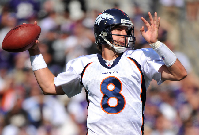 BALTIMORE, MD - OCTOBER 10:  Kyle Orton #8 of the Denver Broncos passes against the Baltimore Ravens at M&amp;T Bank Stadium on October 10, 2010 in Baltimore, Maryland. Players wore pink in recognition of Breast Cancer Awareness Month. The Ravens defeated the