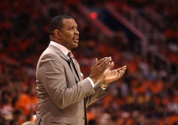 PHOENIX - MAY 29:  Head coach Alvin Gentry of the Phoenix Suns during Game Six of the Western Conference finals of the 2010 NBA Playoffs against the Los Angeles Lakers at US Airways Center on May 29, 2010 in Phoenix, Arizona. The Lakers defeated the Suns
