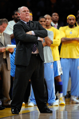 LOS ANGELES, CA - MAY 27:  Head coach George Karl of the Denver Nuggets looks on in Game Five of the Western Conference Finals during the 2009 NBA Playoffs against the Los Angeles Lakers at Staples Center on May 27, 2009 in Los Angeles, California. NOTE T