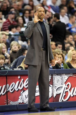 DALLAS - JANUARY 30:  Assistant coach Monty Williams of the Portland Trail Blazers on January 30, 2010 at American Airlines Center in Dallas, Texas.  NOTE TO USER: User expressly acknowledges and agrees that, by downloading and/or using this Photograph, u