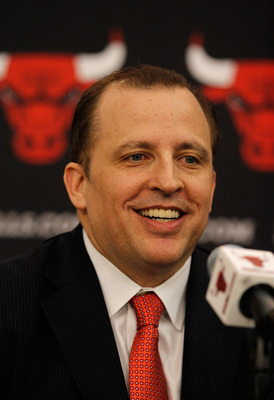 DEERFIELD, IL - JUNE 23: Tom Thibodeau, the new head coach of the Chicago Bulls, speaks during a press conference at the Berto Center practice facility on June 23, 2010 in Deerfield, Illinois. NOTE TO USER: User expressly acknowledges and agrees that, by