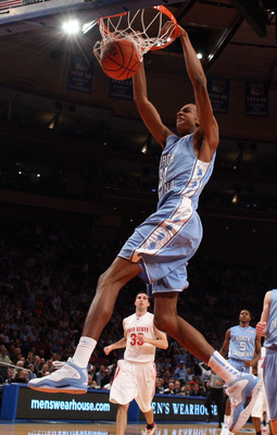 NEW YORK - NOVEMBER 19:  John Henson #31 of the North Carolina Tar Heels dunks against the Ohio State Buckeyes during their semifinal game of the 2K Sports Classic on  November 19, 2009 at Madison Square Garden in New York City.  (Photo by Jim McIsaac/Get