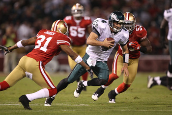 SAN FRANCISCO - OCTOBER 10:  Kevin Kolb #4 of the Philadelphia Eagles runs against the San Francisco 49ers during an NFL game at Candlestick Park on October 10, 2010 in San Francisco, California.  (Photo by Jed Jacobsohn/Getty Images)