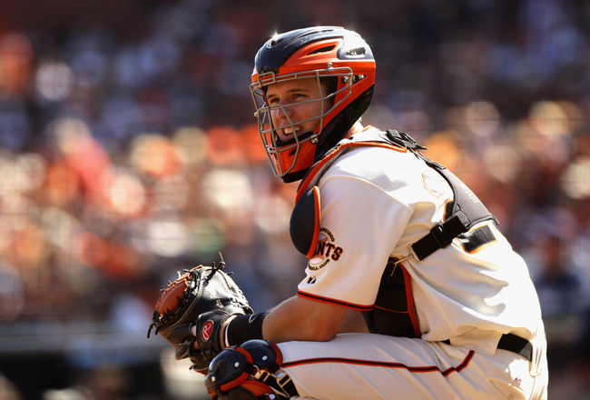 SAN FRANCISCO - OCTOBER 03:  Buster Posey #28 of the San Francisco Giants in action during their game against the San Diego Padres at AT&T Park on October 3, 2010 in San Francisco, California.  (Photo by Ezra Shaw/Getty Images)