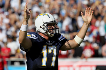 SAN DIEGO - OCTOBER 03:  Quarterback Philip Rivers of the San Diego Chargers celebrates a Charger touchdown play against the Arizona Cardinals in the third quarter at Qualcomm Stadium on October 3, 2010 in San Diego, California.   The Chargers won 41-10.