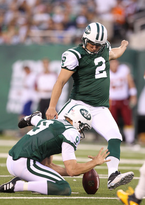 EAST RUTHERFORD, NJ - AUGUST 27:  Nick Folk #2 of the New York Jets in action against the Washington Redskins  during their preseason game on August 27, 2010 at the New Meadowlands Stadium  in East Rutherford, New Jersey.  (Photo by Al Bello/Getty Images)