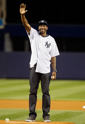 NEW YORK - SEPTEMBER 23:  Amar'e Stoudemire of the New York Knicks throws out the first pitch prior to the game between the New York Yankees and the Tampa Bay Rays on September 23, 2010 at Yankee Stadium in the Bronx borough of New York City.  (Photo by M