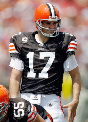 TAMPA, FL - SEPTEMBER 12:  Quarterback Jake Delhomme #17 of the Cleveland Browns lines up against the Tampa Bay Buccaneers during the NFL season opener game at Raymond James Stadium on September 12, 2010 in Tampa, Florida.  (Photo by J. Meric/Getty Images