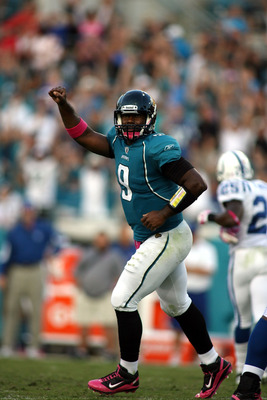 JACKSONVILLE, FL - OCTOBER 03:  Quarterback David Garrard #9 of the Jacksonville Jaguars celebrates the go ahead touchdown against the Indianapolis Colts at EverBank Field on October 3, 2010 in Jacksonville, Florida. The Jaguars won 31-28.  (Photo by Marc