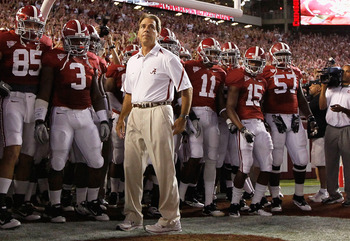 TUSCALOOSA, AL - OCTOBER 02:  Head coach Nick Saban of the Alabama Crimson Tide against the Florida Gators at Bryant-Denny Stadium on October 2, 2010 in Tuscaloosa, Alabama.  (Photo by Kevin C. Cox/Getty Images)
