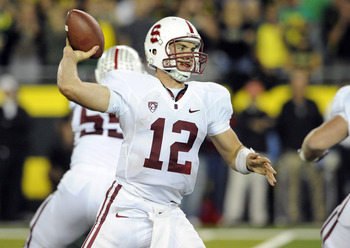 EUGENE, OR - OCTOBER 2: Quarterback Andrew Luck of the Stanford Cardinal passes the ball in the third quarter of the game against the Oregon Ducks at Autzen Stadium on October 2, 2010 in Eugene, Oregon. Oregon won the game 52-31. (Photo by Steve Dykes/Get