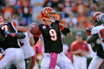 CINCINNATI, OH - OCTOBER 10:  Quarterback Carson Palmer #9 of the Cincinnati Bengals gets set to throw from the pocket against the Tampa Bay Buccaneers at Paul Brown Stadium on October 10, 2010 in Cincinnati, Ohio.  (Photo by Jamie Sabau/Getty Images)