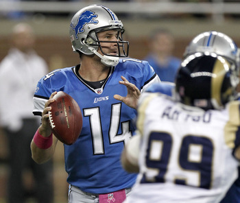 DETROIT - OCTOBER 10: Shaun Hill #14 of the Detroit Lions looks for a open receiver while playing the St. Louis Rams on October 10, 2010 at Ford Field in Detroit, Michigan.  (Photo by Gregory Shamus/Getty Images)