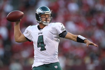 SAN FRANCISCO - OCTOBER 10:  Kevin Kolb #4 of the Philadelphia Eagles passes against the San Francisco 49ers during an NFL game at Candlestick Park on October 10, 2010 in San Francisco, California.(Photo by Jed Jacobsohn/Getty Images)