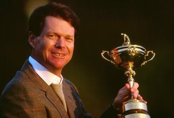 26 Sep 1993:  Portrait of USA Captain Tom Watson holding the trophy after the Ryder Cup at the Belfry Golf Club in Sutton Coldfield, England. USA won the event 15-13. \ Mandatory Credit: Chris  Cole/Allsport
