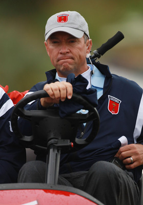 NEWPORT, WALES - OCTOBER 01:  USA Vice Captain Davis Love III looks on during the Morning Fourball Matches during the 2010 Ryder Cup at the Celtic Manor Resort on October 1, 2010 in Newport, Wales.  (Photo by Andrew Redington/Getty Images)