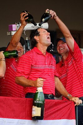 LOUISVILLE, KY - SEPTEMBER 21:  Captain Paul Azinger celebrates with teammates in honor of the USA 16 1/2 - 11 1/2 victory on the final day of the 2008 Ryder Cup at Valhalla Golf Club on September 21, 2008 in Louisville, Kentucky.  (Photo by Andrew Reding