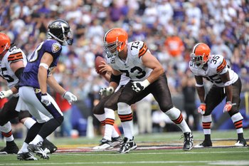 BALTIMORE - SEPTEMBER 27:  Joe Thomas #73 of the Cleveland Browns defends against the Baltimore Ravens at M&T Bank Stadium on September 27, 2009 in Baltimore, Maryland. The Ravens defeated the Browns 34-3. (Photo by Larry French/Getty Images)