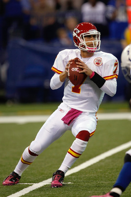 INDIANAPOLIS, IN - OCTOBER 10: Matt Cassel #7 of the Kansas City Chiefs drops back to pass against the Indianapolis Colts at Lucas Oil Stadium on October 10, 2010 in Indianapolis, Indiana.  (Photo by Scott Boehm/Getty Images)