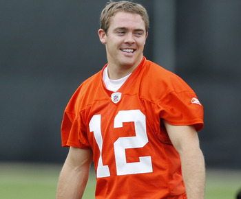 BEREA, OH - MAY 01:  Colt McCoy #12 of the Cleveland Browns stretches during rookie mini camp at the Cleveland Browns Training and Administrative Complex on May 1, 2010 in Berea, Ohio.  (Photo by Gregory Shamus/Getty Images)