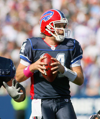 ORCHARD PARK, NY - OCTOBER 10: Ryan Fitzpatrick #14  of the Buffalo Bills looks to pass against  the Jacksonville Jaguars at Ralph Wilson Stadium on October 10, 2010 in Orchard Park, New York.  (Photo by Rick Stewart/Getty Images)