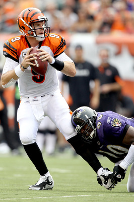 CINCINNATI - SEPTEMBER 19:  Quarterback Carson Palmer #9 of the Cincinnati Bengals tries to break free from Trevor Pryce #90 of the Baltimore Ravens at Paul Brown Stadium on September 19, 2010 in Cincinnati, Ohio.  (Photo by Matthew Stockman/Getty Images)