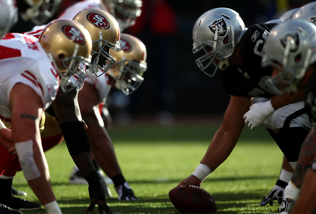 OAKLAND, CA - AUGUST 28:  Members of the Oakland Raiders line up against the San Francisco 49ers during an NFL preseason game at Oakland-Alameda County Coliseum on August 28, 2010 in Oakland, California. (Photo by Jed Jacobsohn/Getty Images)