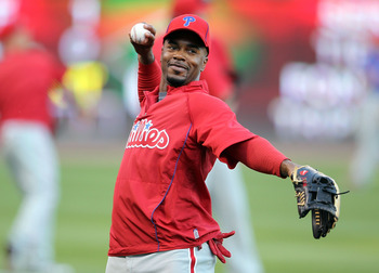 CINCINNATI - OCTOBER 10:  Jimmy Rollins #11 of the Philadelphia Phillies participates in batting practice before the start of  Game 3 of the NLDS against the Cincinnati Reds at Great American Ball Park on October 10, 2010 in Cincinnati, Ohio.  (Photo by A
