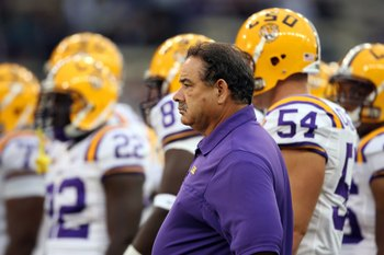 SEATTLE - SEPTEMBER 5:  Defensive coordinator John Chavis of the LSU Tigers looks on during pre-game warm-up against the Washington Huskies on September 5, 2009 at Husky Stadium in Seattle, Washington. The LSU Tigers defeated the Washington Huskies 31-23.