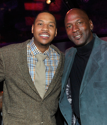 DALLAS - FEBRUARY 12:  (L-R) NBA players Dwyane Wade, Carmelo Anthony, and Michael Jordan attend the Exclusive FABULOUS 23 Dinner hosted by Jordan Brand during All-Star Weekend on February 12, 2010 in Dallas, Texas.  (Photo by Charley Gallay/Getty Images