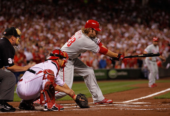 CINCINNATI - OCTOBER 10: Jayson Werth #28 of the Philadelphia Phillies hits a run-scoring single in the 1st inning against the Cincinnati Reds during game 3 of the NLDS at Great American Ball Park on October 10, 2010 in Cincinnati, Ohio. (Photo by Jonatha