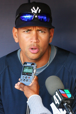 NEW YORK - OCTOBER 12:  Alex Rodriquez #13 of the New York Yankees answers questions from the press during a workout session at Yankee Stadium on October 12, 2010 in the Bronx borough of New York City.  (Photo by Andrew Burton/Getty Images)