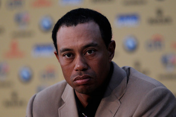NEWPORT, WALES - OCTOBER 04:  Tiger Woods of Team USA attends a press conference following Europe's 14.5 to 13.5 victory over the USA at the 2010 Ryder Cup at the Celtic Manor Resort on October 4, 2010 in Newport, Wales.  (Photo by Sam Greenwood/Getty Ima