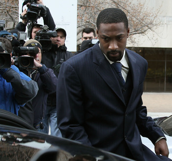 WASHINGTON - MARCH 26:  NBA player Gilbert Arenas of the Washington Wizards leaves the District of Columbia Court after being sentenced March 26, 2010 in Washington, DC. The Washington Wizards star recieved two years probation for bringing guns into the W