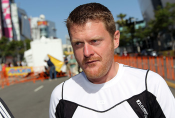 LOS ANGELES, CA - MAY 22:  Floyd Landis looks on as he attends Stage Seven of the 2010 Tour of California on May 22, 2010 in Los Angeles, California.  (Photo by Doug Pensinger/Getty Images)