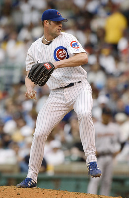 CHICAGO - MAY 30:  Kyle Farnsworth #44 of the Chicago Cubs pitches during a game against the Houston Astros on May 30, 2003 at Wrigley Field in Chicago, Illinois. The Astros defeated the Cubs 9-1. (Photo by Jonathan Daniel/Getty Images)