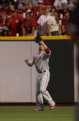 CINCINNATI - OCTOBER 10: Jayson Werth #28 of the Philadelphia Phillies moves into position to catch a fly ball against the Cincinnati Reds during game 3 of the NLDS at Great American Ball Park on October 10, 2010 in Cincinnati, Ohio. The Phillies defeated