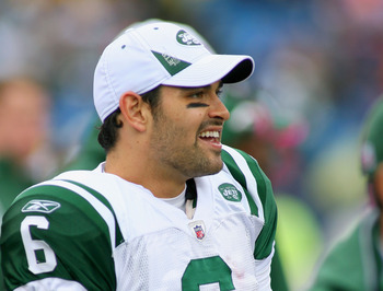 ORCHARD PARK, NY - OCTOBER 03:  Mark Sanchez #6 of the New York Jets stands on the sidelines  against the Buffalo Bills at Ralph Wilson Stadium on October 3, 2010 in Orchard Park, New York. The Jets won 38-14.  (Photo by Rick Stewart/Getty Images)