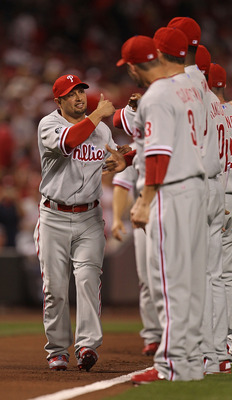 CINCINNATI - OCTOBER 10: Shane Victorino #8 of the Philadelphia Phillies greets teammates during player introductions before game 3 of the NLDS against the Cincinnati Red at Great American Ball Park on October 10, 2010 in Cincinnati, Ohio. The Phillies de