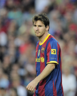 BARCELONA, SPAIN - OCTOBER 03:  Lionel Messi of Barcelona looks on during the La Liga match between Barcelona and Mallorca at the Camp Nou stadium on October 3, 2010 in Barcelona, Spain. The match ended 1-1 draw.  (Photo by David Ramos/Getty Images)
