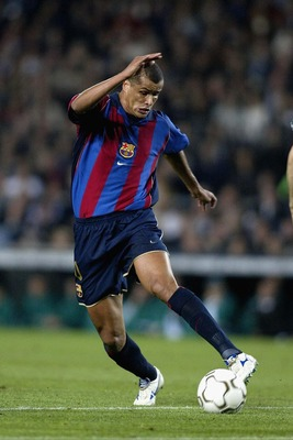 9 Apr 2002: Rivaldo of Barcelona in action during the Champions League quarter final, 2nd leg match between Barcelona and Panathinaikos at the Nou Camp Stadium, Barcelona, Spain. DIGITAL IMAGE Mandatory Credit: Gary M. Prior/Getty Images