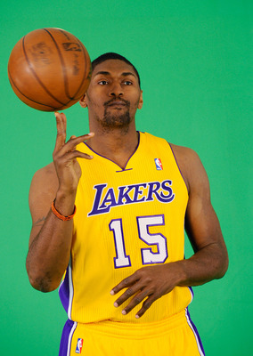 EL SEGUNDO, CA - SEPTEMBER 25:  Ron Artest #15 of the Los Angeles Lakers tapes a television segment during Media Day at the Toyota Center on September 25, 2010 in El Segundo, California. NOTE TO USER: User expressly acknowledges and agrees that, by downlo