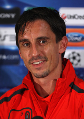 MANCHESTER, ENGLAND - SEPTEMBER 13:  Gary Neville of Manchester United faces the media during a press conference ahead of their UEFA Champions League match against Rangers held at Carrington Training Ground on September 13, 2010 in Manchester, England.  (