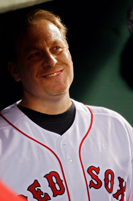 BOSTON - OCTOBER 16:  Curt Schilling of the Boston Red Sox looks on before game five of the American League Championship Series against the Tampa Bay Rays during the 2008 MLB playoffs at Fenway Park on October 16, 2008 in Boston, Massachusetts.  (Photo by