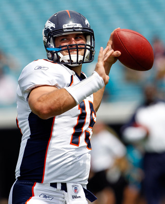 JACKSONVILLE, FL - SEPTEMBER 12:  Quarterback Tim Tebow #15 of the Denver Broncos practices prior to the NFL season opener game against the Jacksonville Jaguars at EverBank Field on September 12, 2010 in Jacksonville, Florida.  (Photo by Sam Greenwood/Get