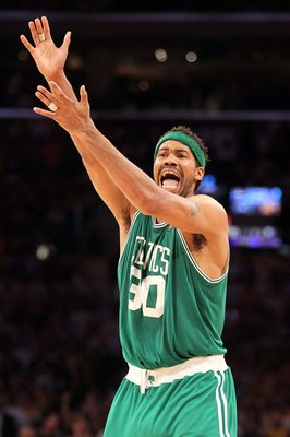LOS ANGELES, CA - JUNE 17:  Rasheed Wallace #30 of the Boston Celtics reacts against the Los Angeles Lakers in Game Seven of the 2010 NBA Finals at Staples Center on June 17, 2010 in Los Angeles, California.  NOTE TO USER: User expressly acknowledges and