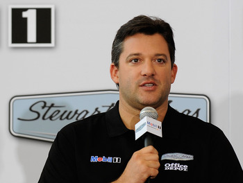 KANNAPOLIS, NC - OCTOBER 12:  Tony Stewart, Stewart-Haas Racing's driver/owner, announced Mobil 1 as his co-primary sponsor with Office Depot beginning in 2011 at Stewart-Haas Racing on October 12, 2010 in Kannapolis, North Carolina.  (Photo by Rusty Jarr