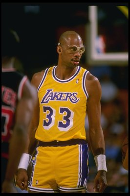 1988-1989:  Center Kareem Abdul-Jabbar of the Los Angeles Lakers looks on during a game at the Great Western Forum in Inglewood, California. Mandatory Credit: Stephen Dunn  /Allsport