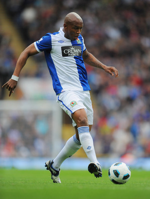 BLACKBURN, ENGLAND - SEPTEMBER 18: El-Hadji Diouf of Blackburn in action during the Barclays Premier League match between Blackburn Rovers and Fulham at Ewood park on September 18, 2010 in Blackburn, England.  (Photo by Michael Regan/Getty Images)